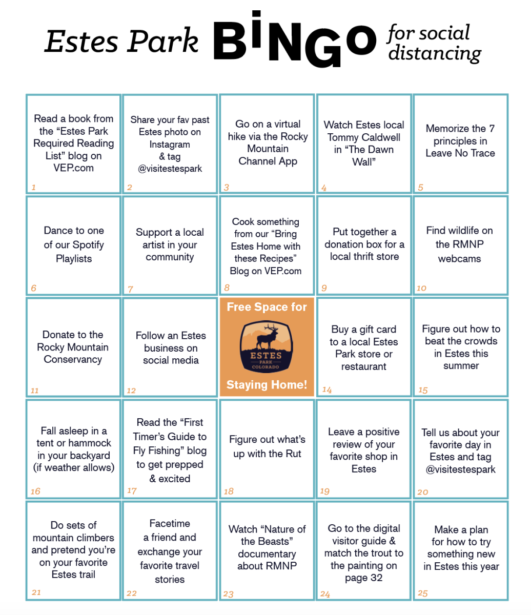 Estes Park Bingo For Social Distancing
