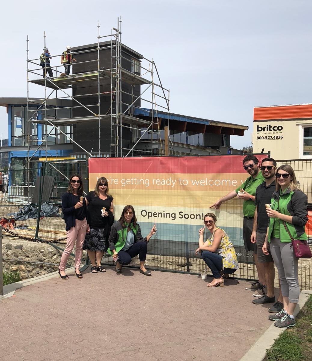 Photo of Tourism Kelowna staff at visitor centre construction project