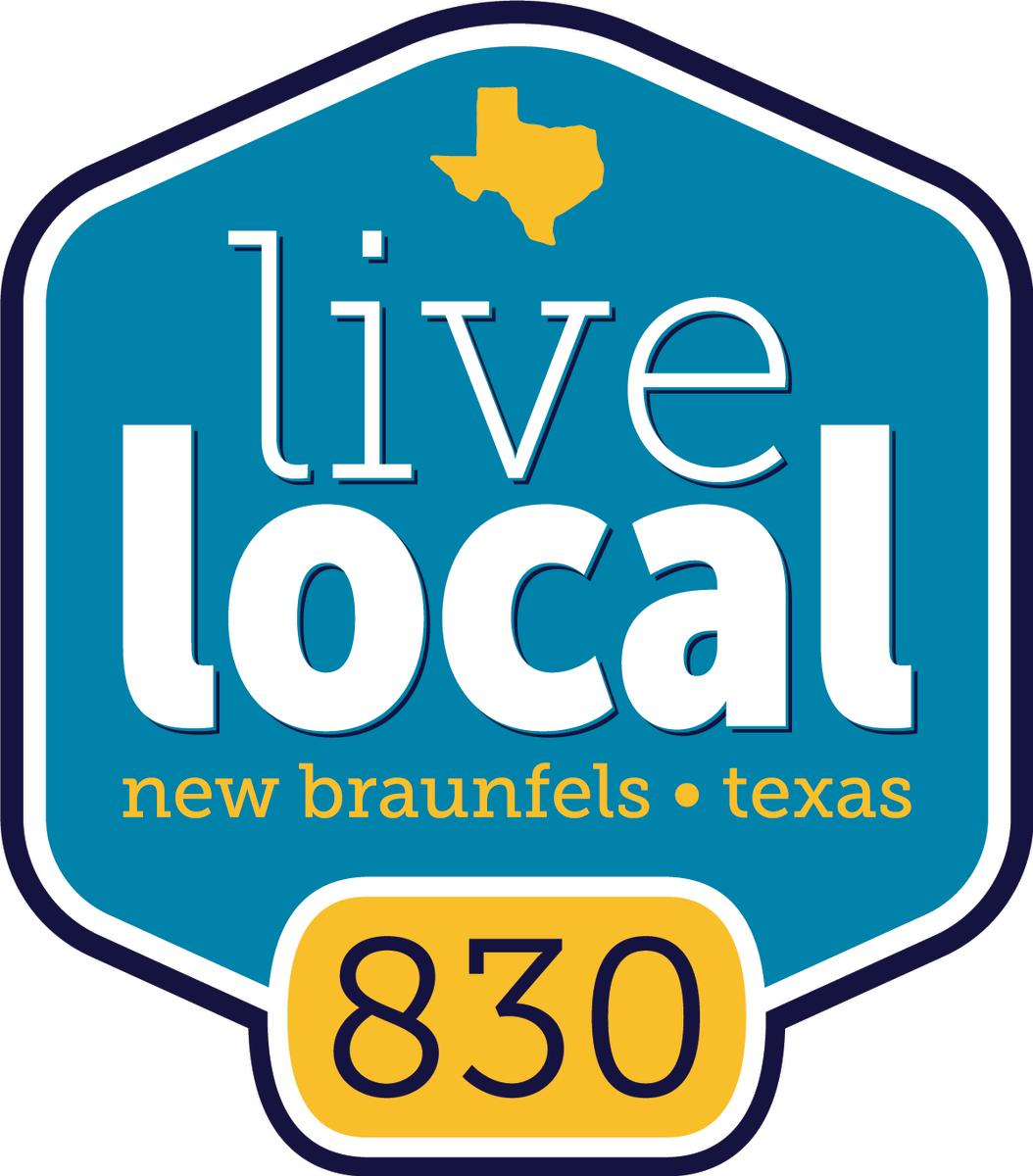 "New Braunfels Chamber announces new Live Local platform with a brilliant blue logo and a proud ""830"" displayed in yellow."