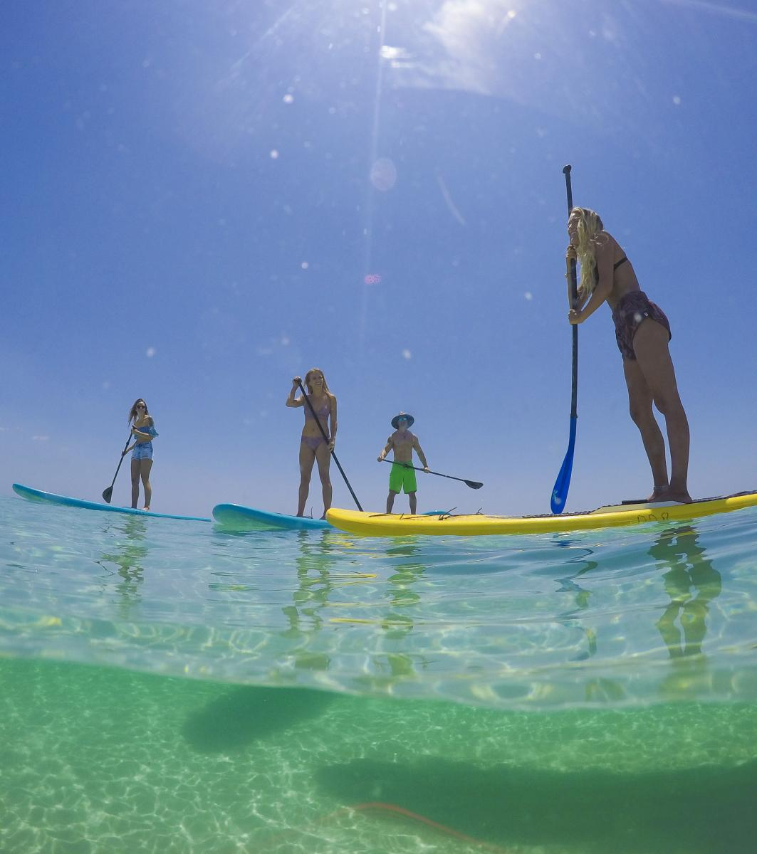 Paddleboarding at Park East on Pensacola Beach