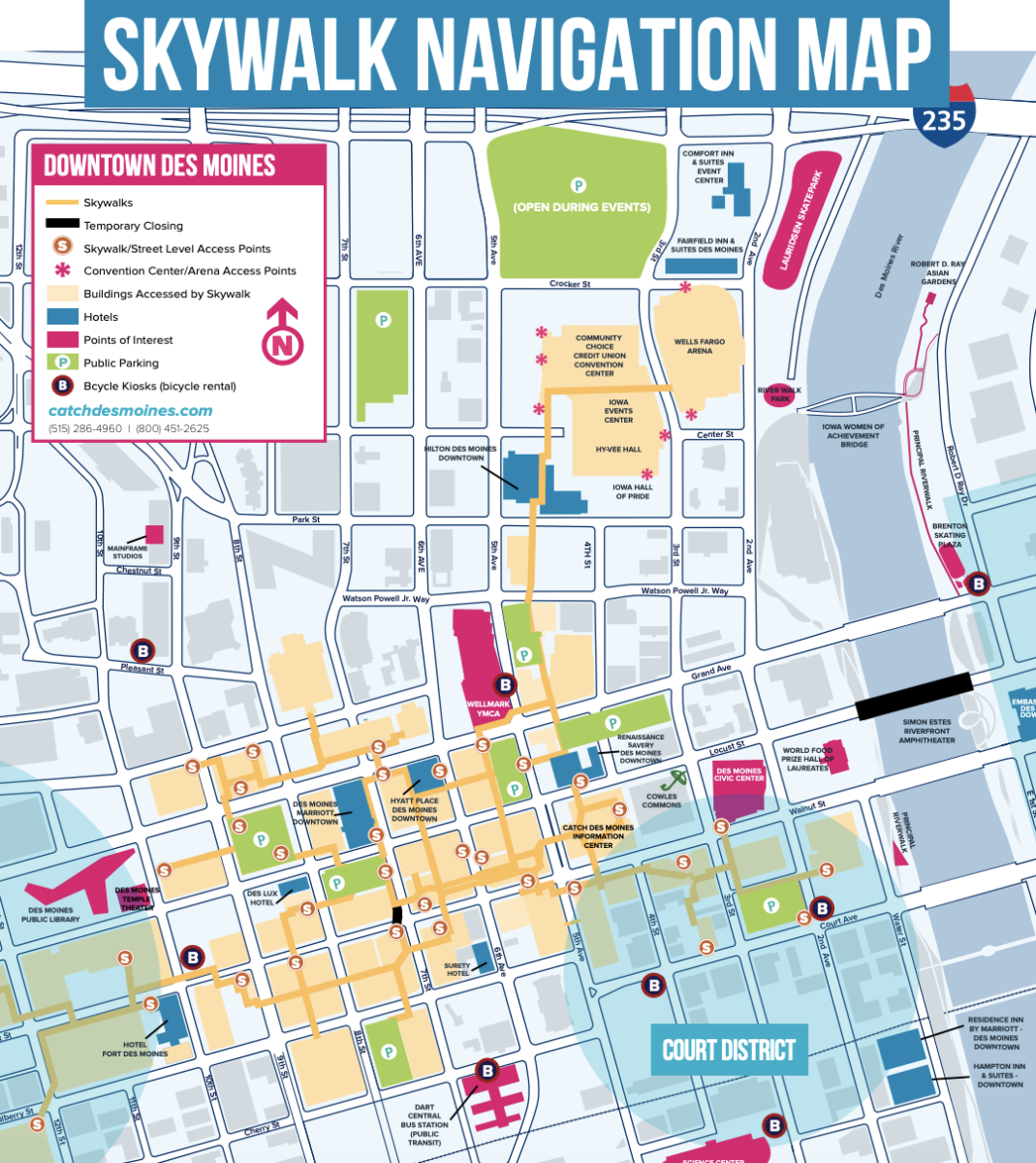 Downtown Des Moines Skywalk Map