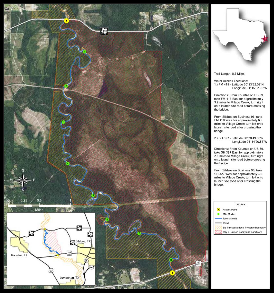 Village Creek Paddle Map