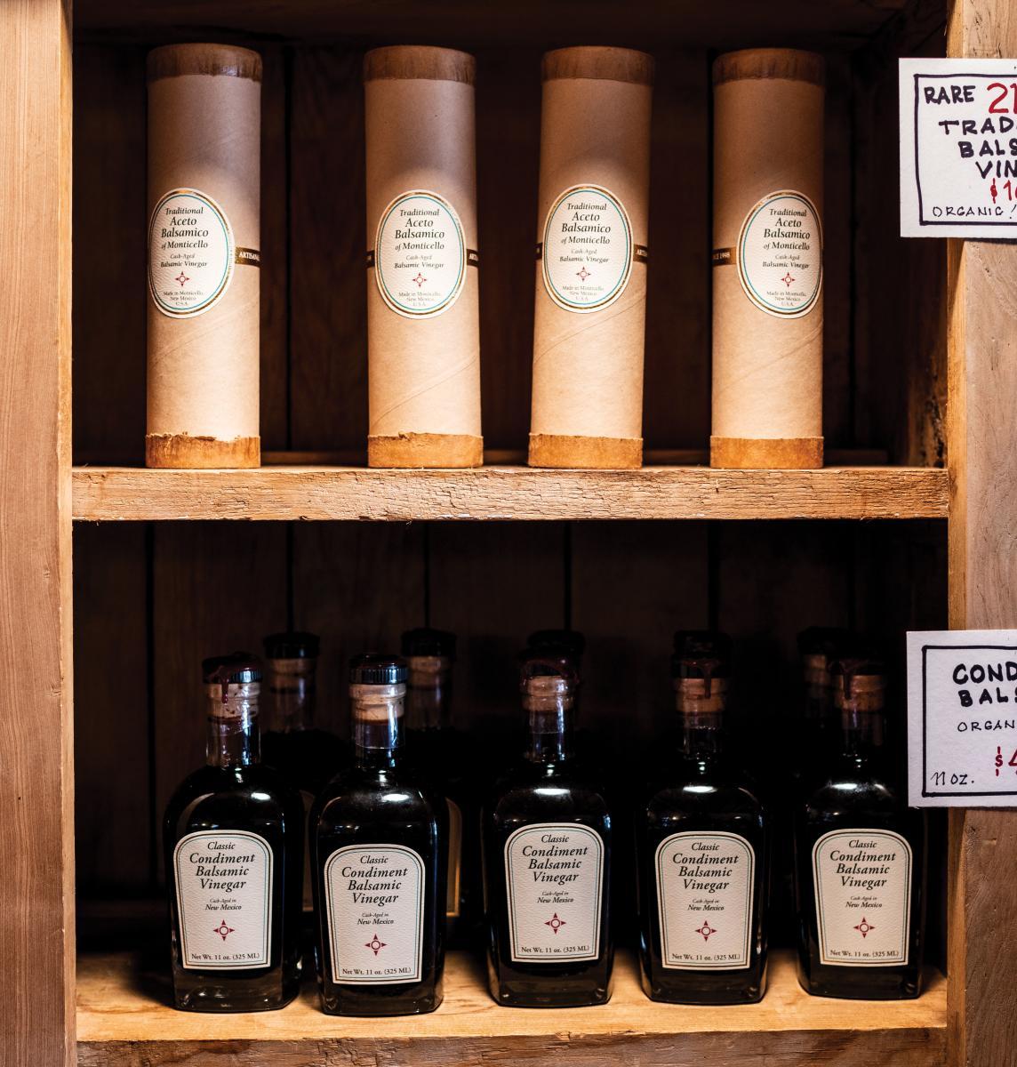 Bottles of tantalizing balsamic vinegar.