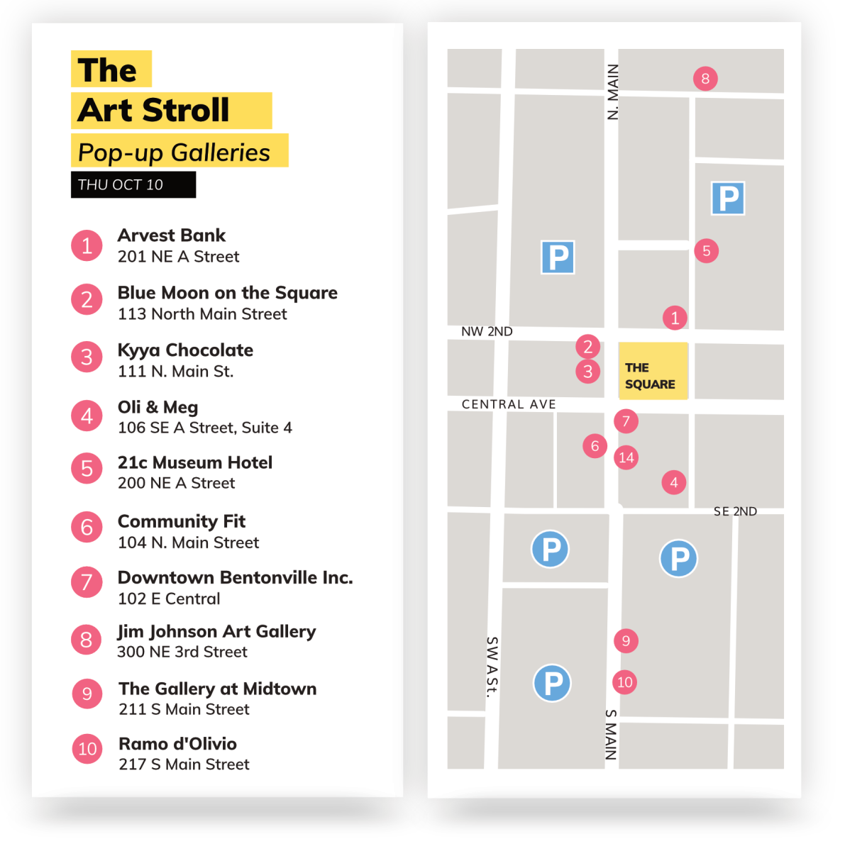 A map of all participating Art Stroll locations