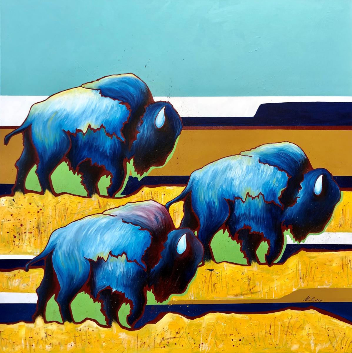 Artistic painting of bison on the prairie using blues and yellows.