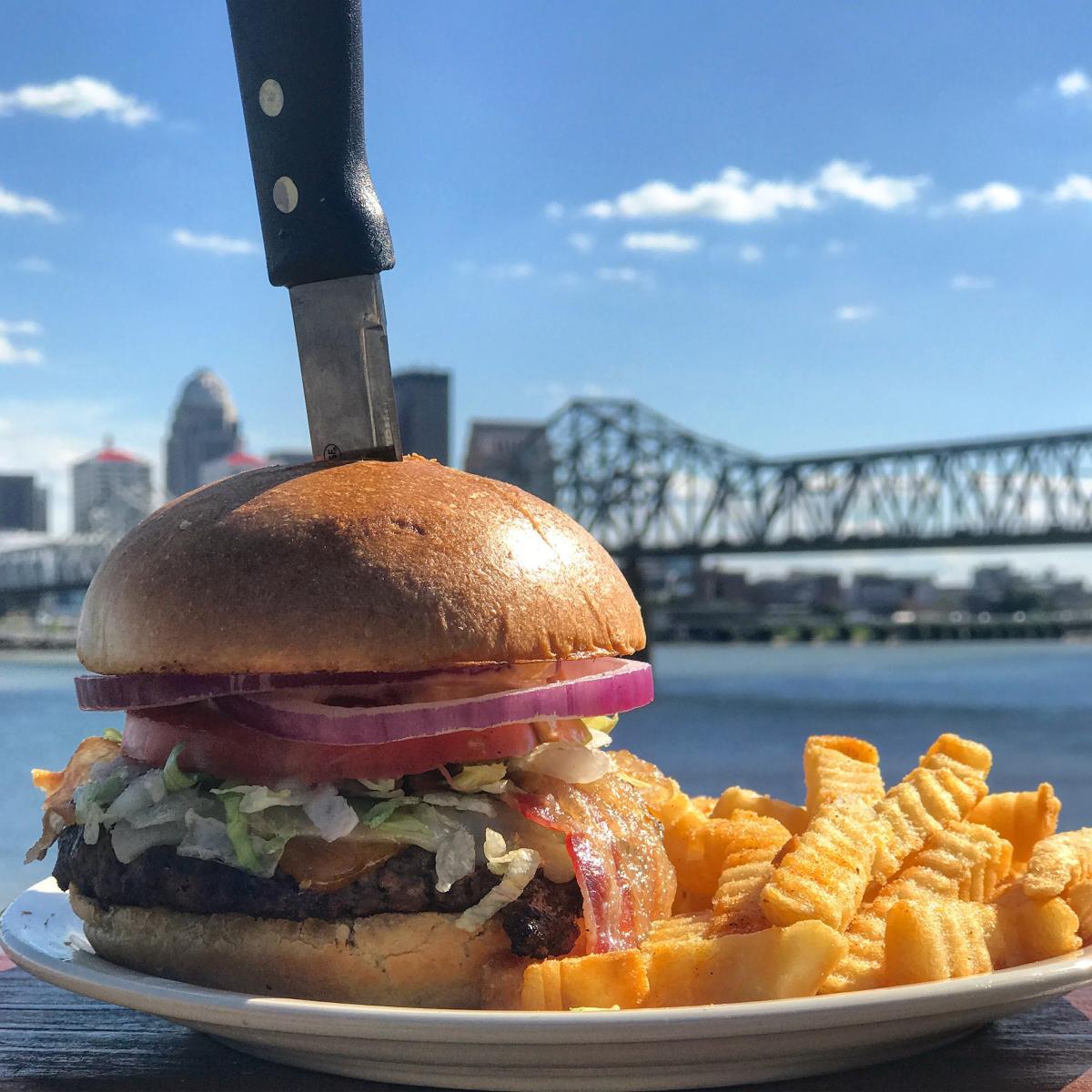 Bacon cheeseburger and fries at Buckhead