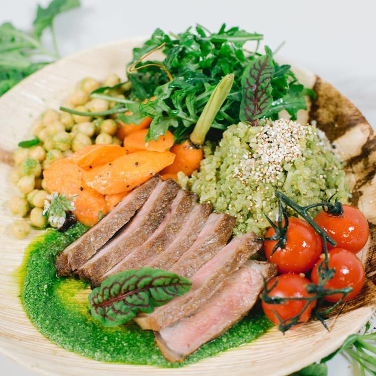 A plated dish from Sea Salt Healthy Kitchen on St. Simons Island, GA