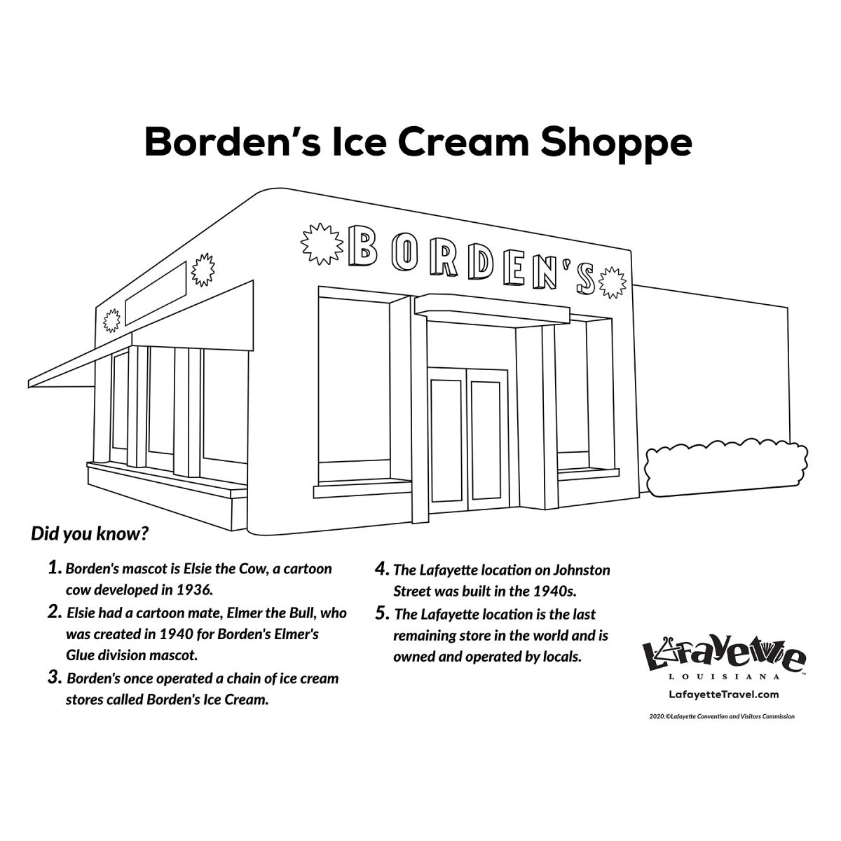 Borden's Ice Cream Shoppe - Coloring Sheet