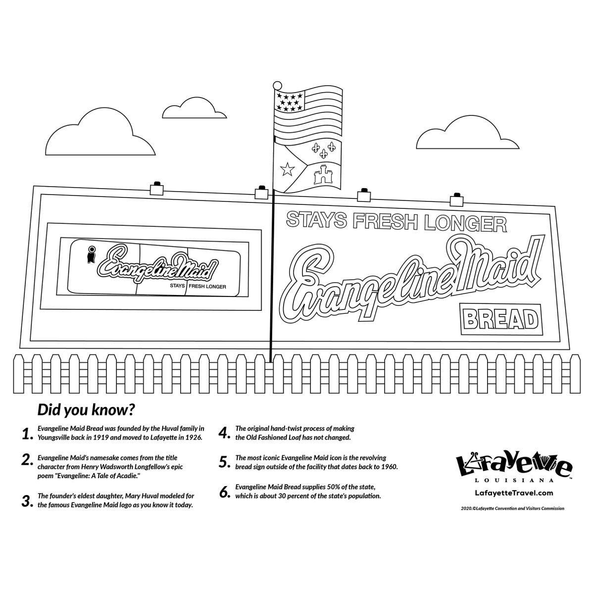 Evangeline Maid Bread Sign - Coloring Sheet