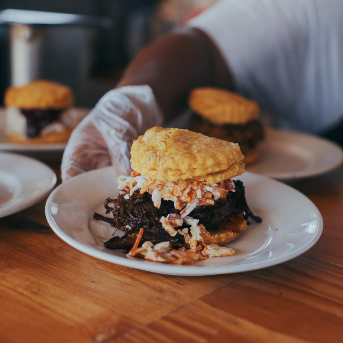 Made with Sweet-potato biscuits, this Handsome Biscuit sandwich is a local favorite.