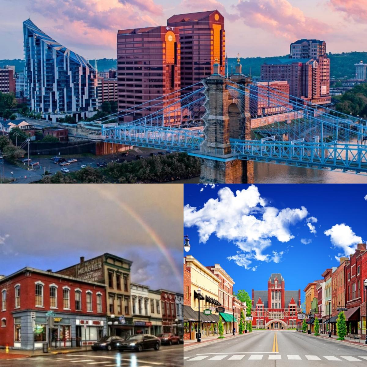 A collage of the downtowns of the three cities on the Come Find Bourbon tour--Covington, Frankfort, and Bardstown, Kentucky