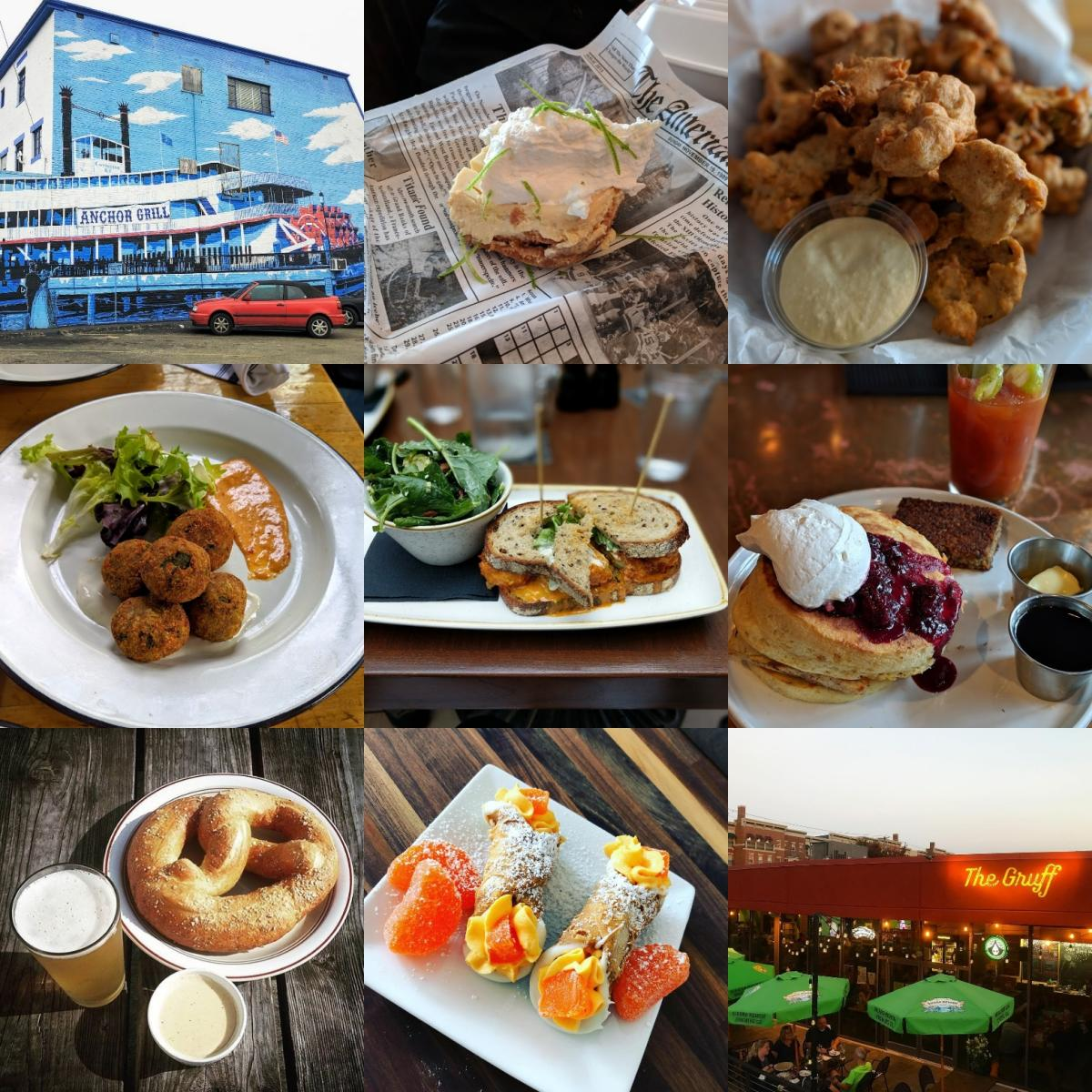 A collage of the 9 restaurants named in Covington, KY, making it the Best Restaurant City in America
