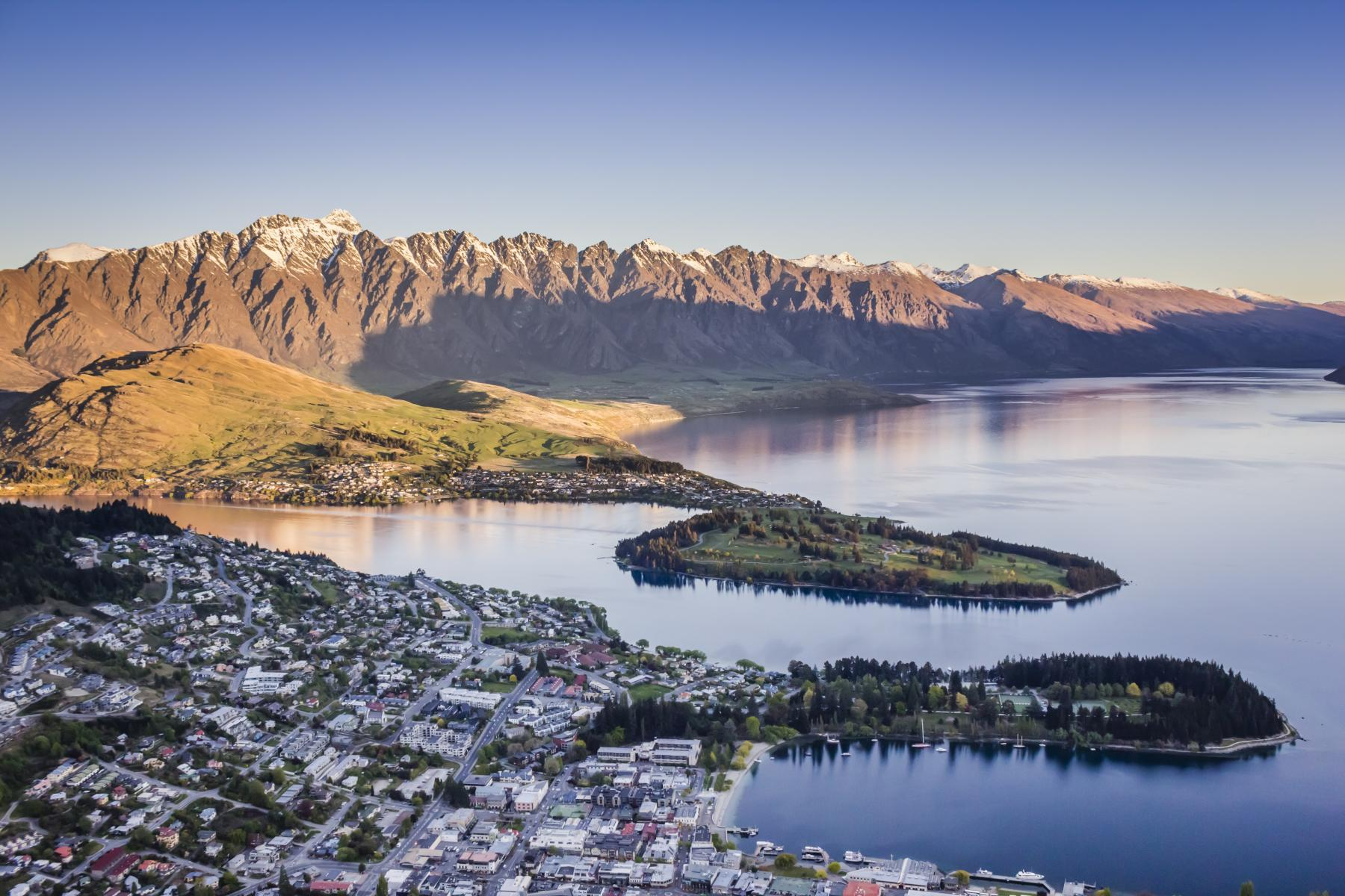 Aerial view over Queenstown at Sunset from Bob's Peak