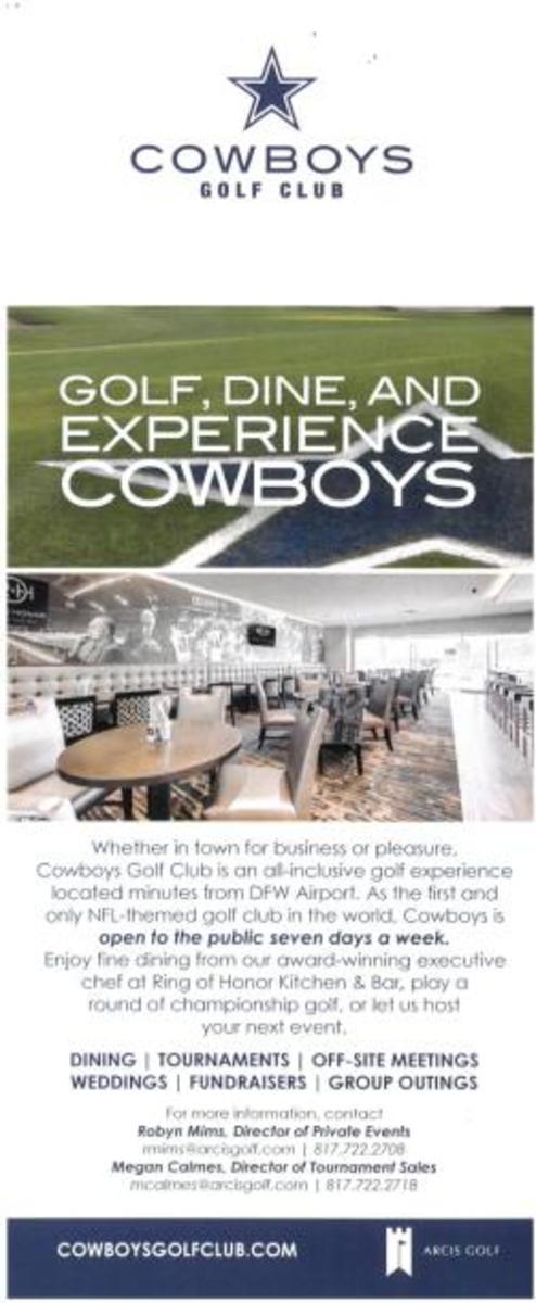 Cowboys Golf Club Rack Card