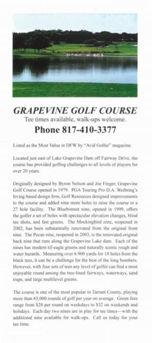 Grapevine Golf Course Rack Card