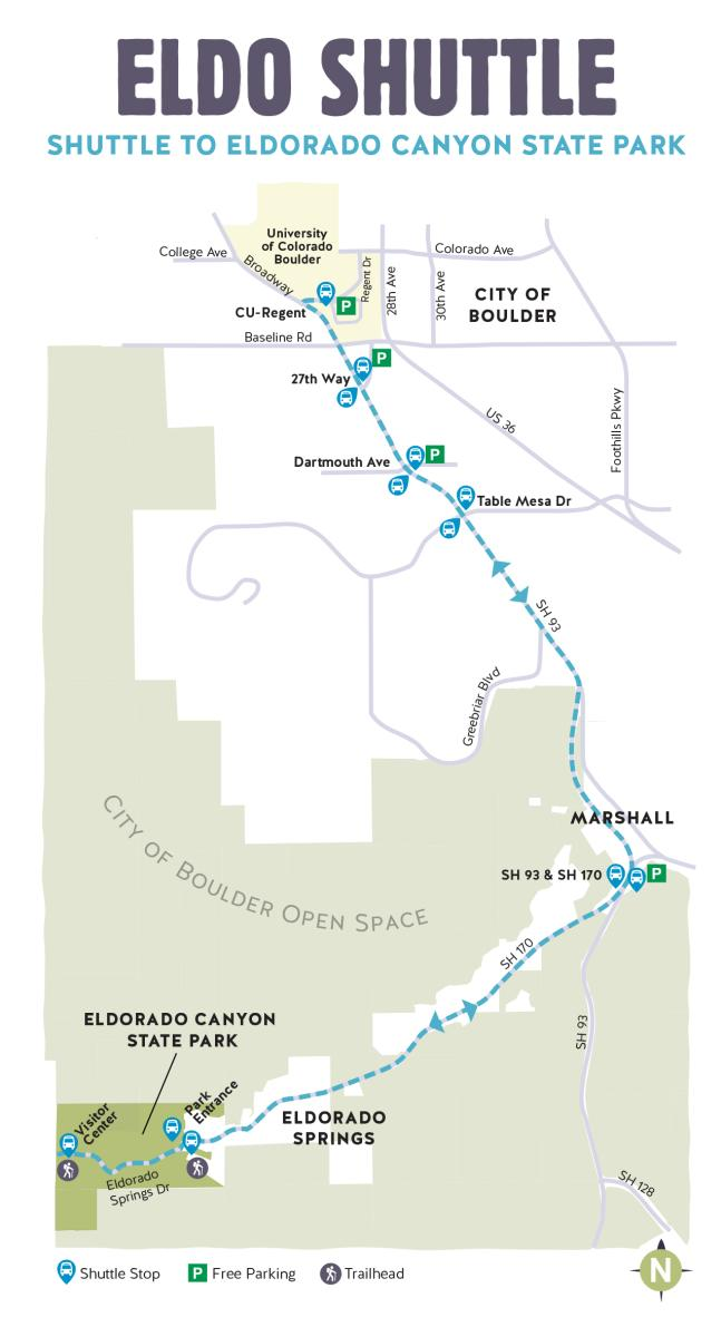 Eldorado State Canyon Hiker Shuttle Route Map