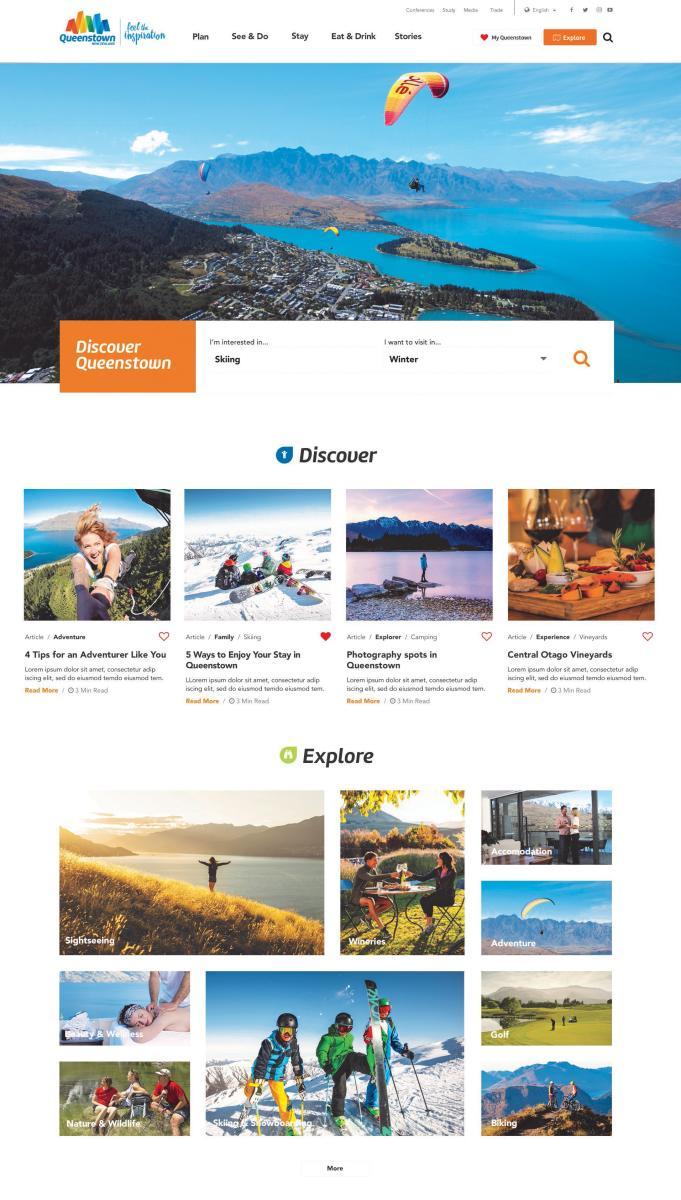Queenstown Website Homepage Preview