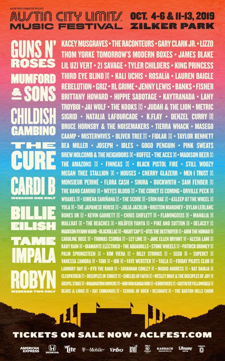 Austin City Limits ACL Music Festival 2019 Lineup Poster Austin Texas