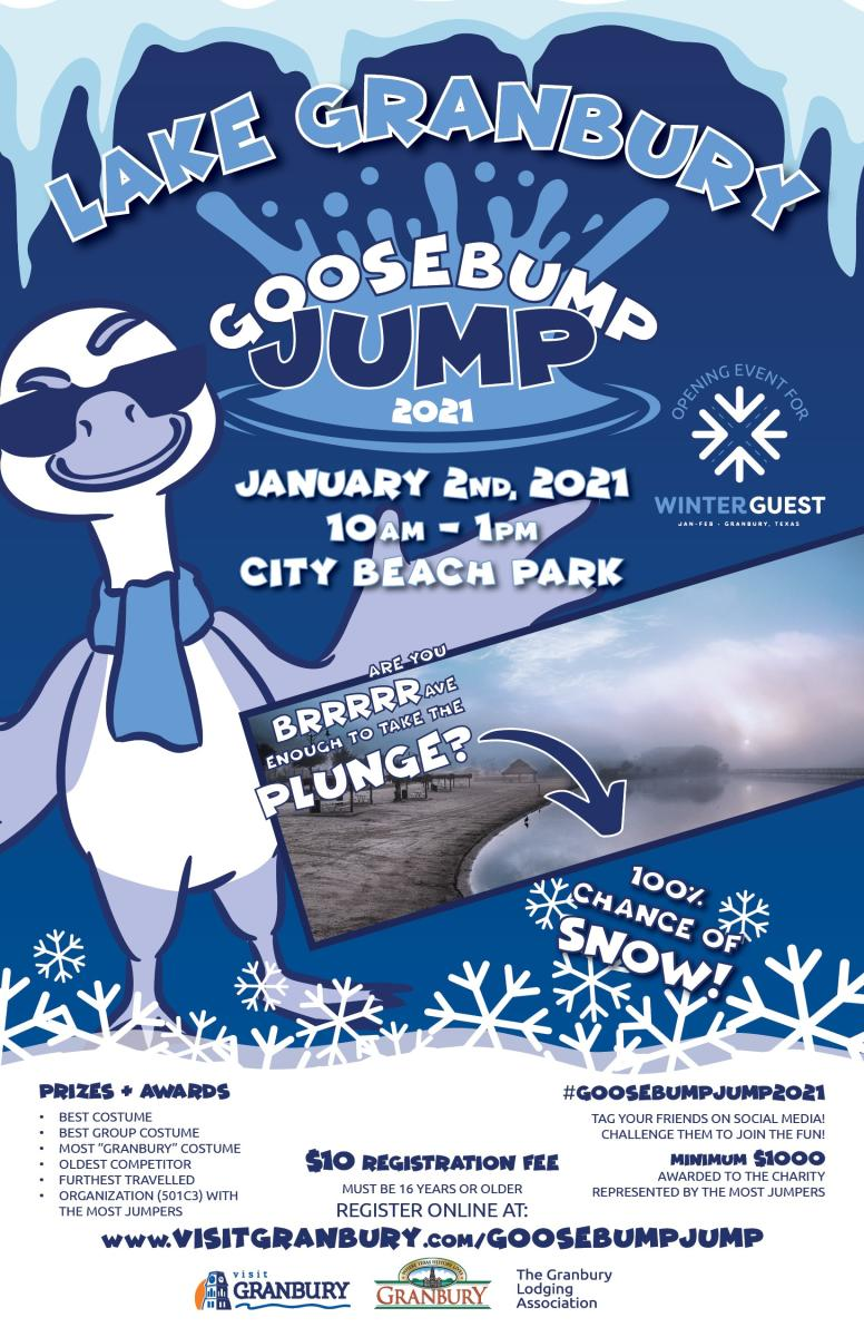 Lake Granbury Goosebump Jump 2021. January2, 2021 10am - 1pm. City Beach Park.