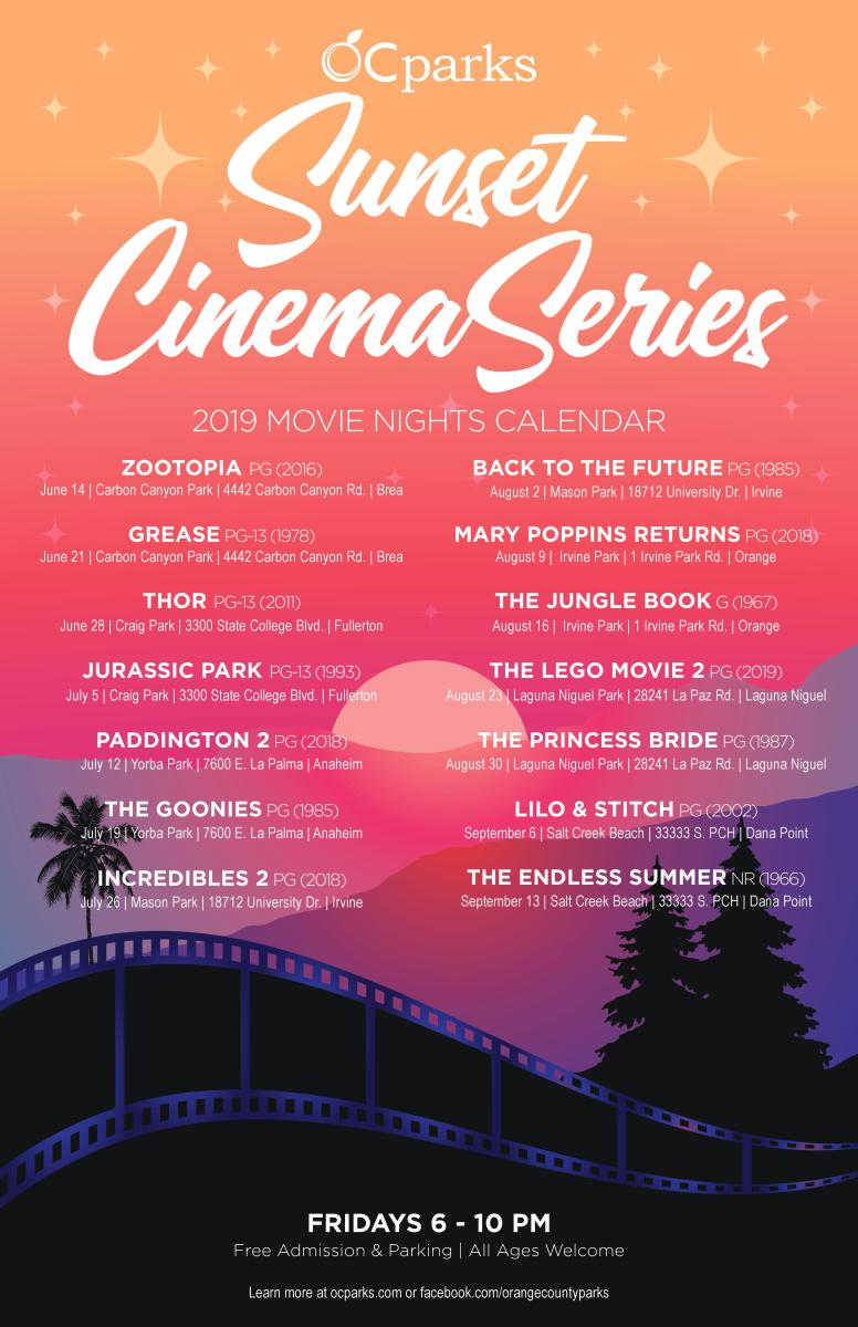 OC Parks 2019 Sunset Cinema Series Schedule