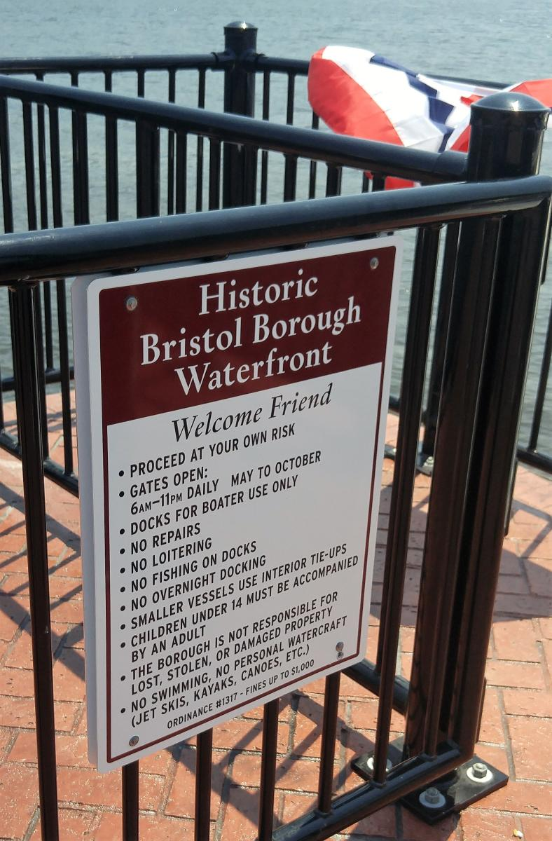 Sign at the Bristol Borough Waterfront