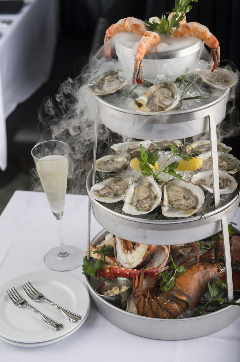 Smoking shellfish tower at Ocean Prime in Denver
