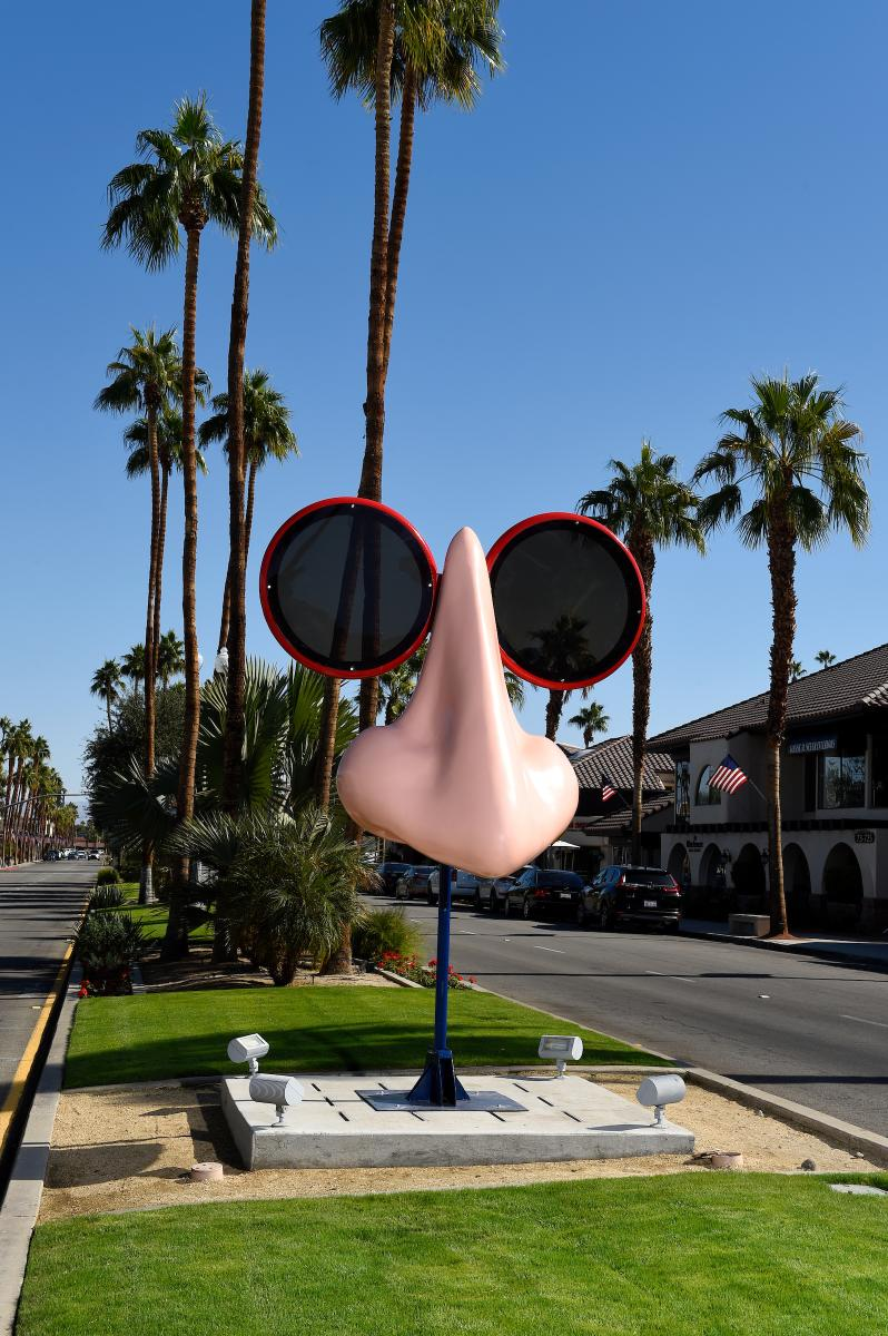 Sculpture of giant nose and glasses