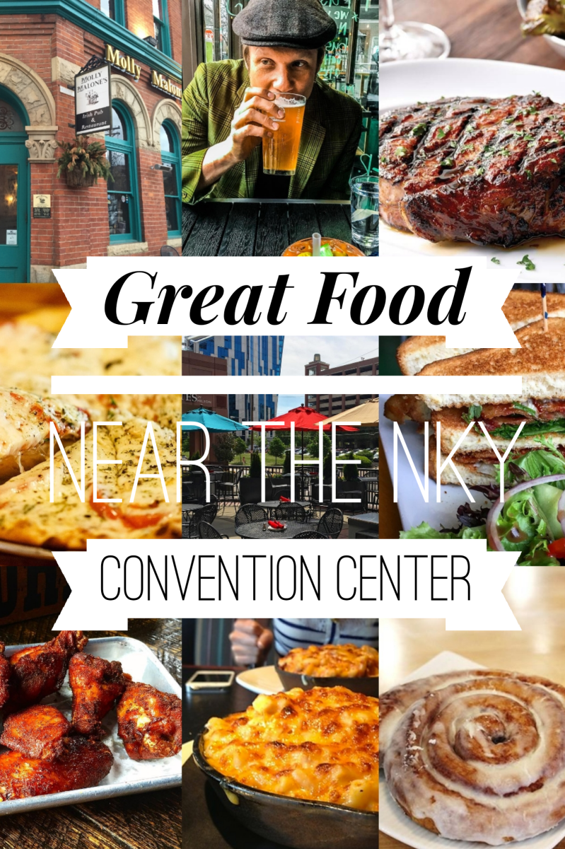 "A collage of food and restaurants near the Northern Kentucky Convention Center with the title ""Great Food Near the NKY Convention Center"" written over it."