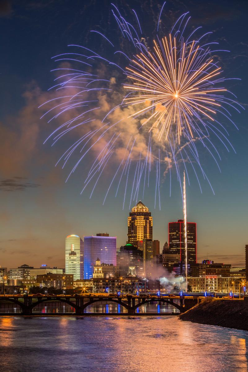 Downtown Des Moines Skyline with fireworks