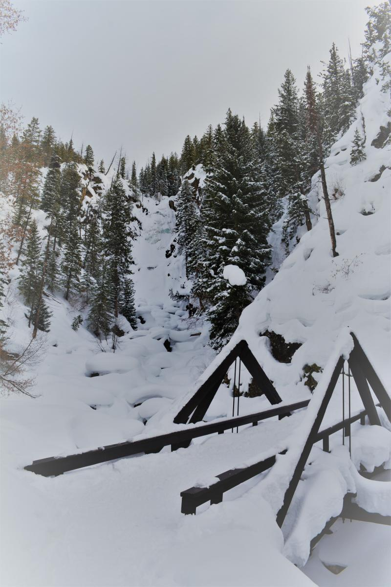 A hike to the scenic Fish Creek Falls in the winter outside Steamboat Springs, Colorado
