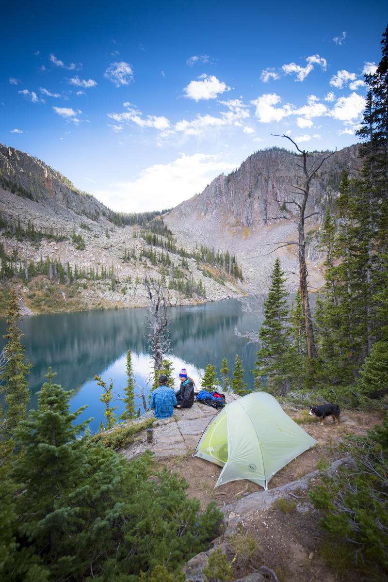 Backpackers enjoy the views at Gilpin Lake in the Zirkel Wilderness