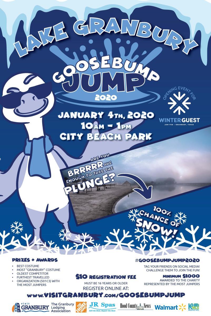 Lake Granbury Goosebump Jump 2020. January 4, 2020 10am - 1pm. City Beach Park.