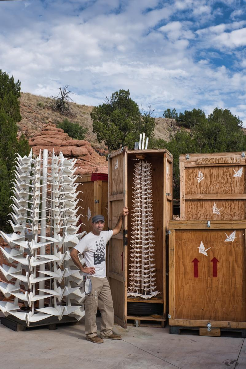 In the Folds: Kevin Box's several towers of folded cranes