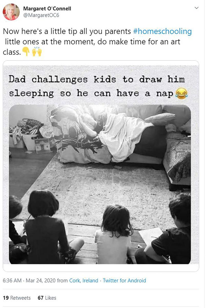 "Work from home joke, says ""Dad challenges kids to draw him sleeping so he can have a nap"""