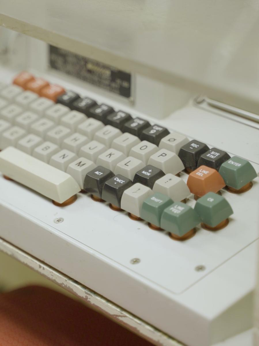 Close up of retro keyboard inside Quebec 01 Missile Alert Facility State Historical Site