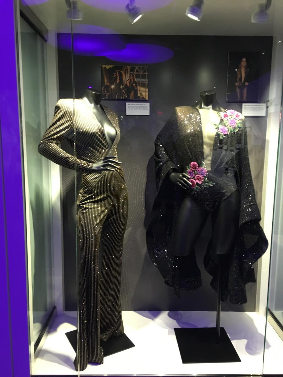 Performance outfits on display at the GRAMMY Museum Experience Prudential Center
