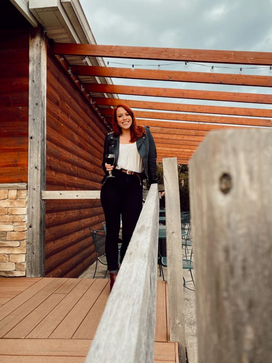 Rebekah Baughman at White Tail Run Winery Cabin in Edgerton, KS
