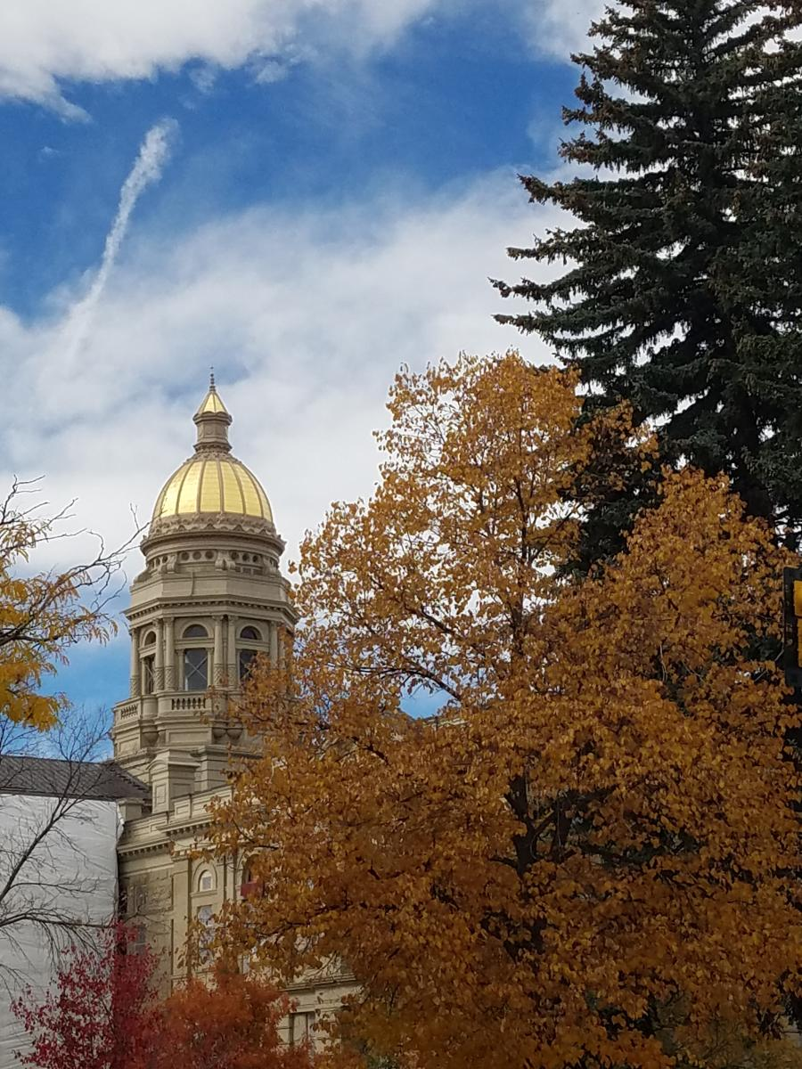Wyoming State Capitol with fall foliage in front of blue skies with brilliant white clouds