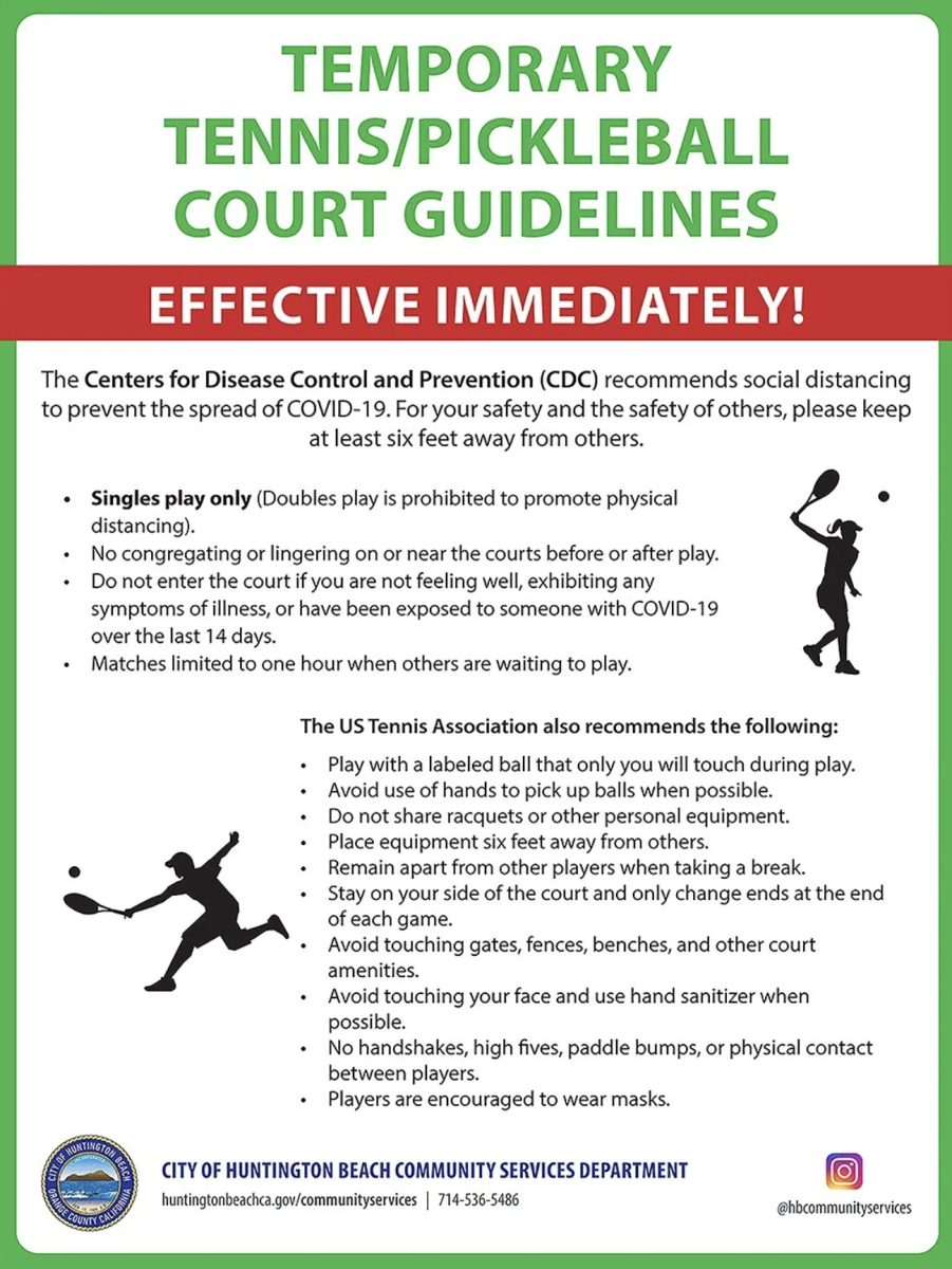 Huntington Beach Pickleball Court Guidelines during COVID-19