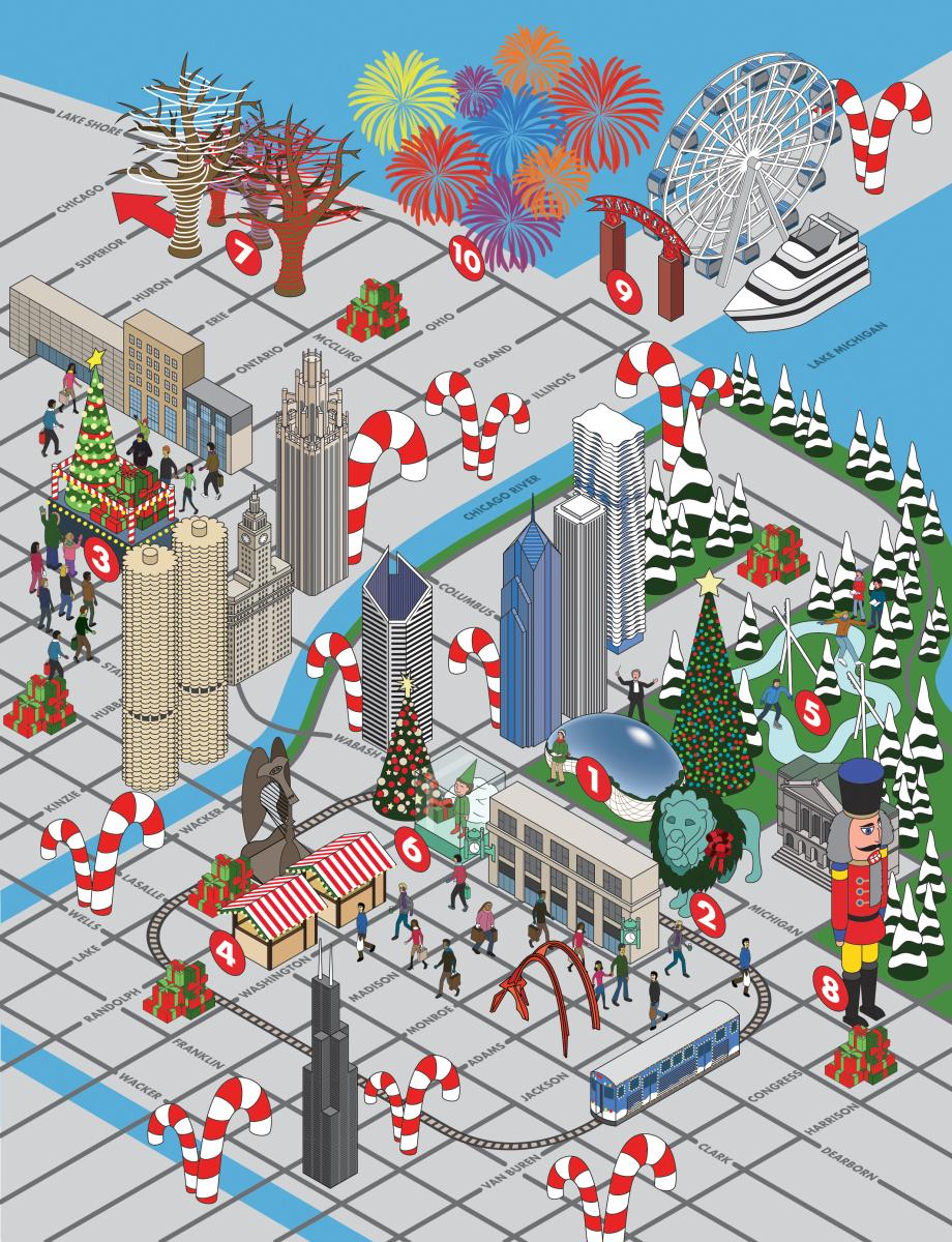 Top 10 Chicago Holiday Traditions Map