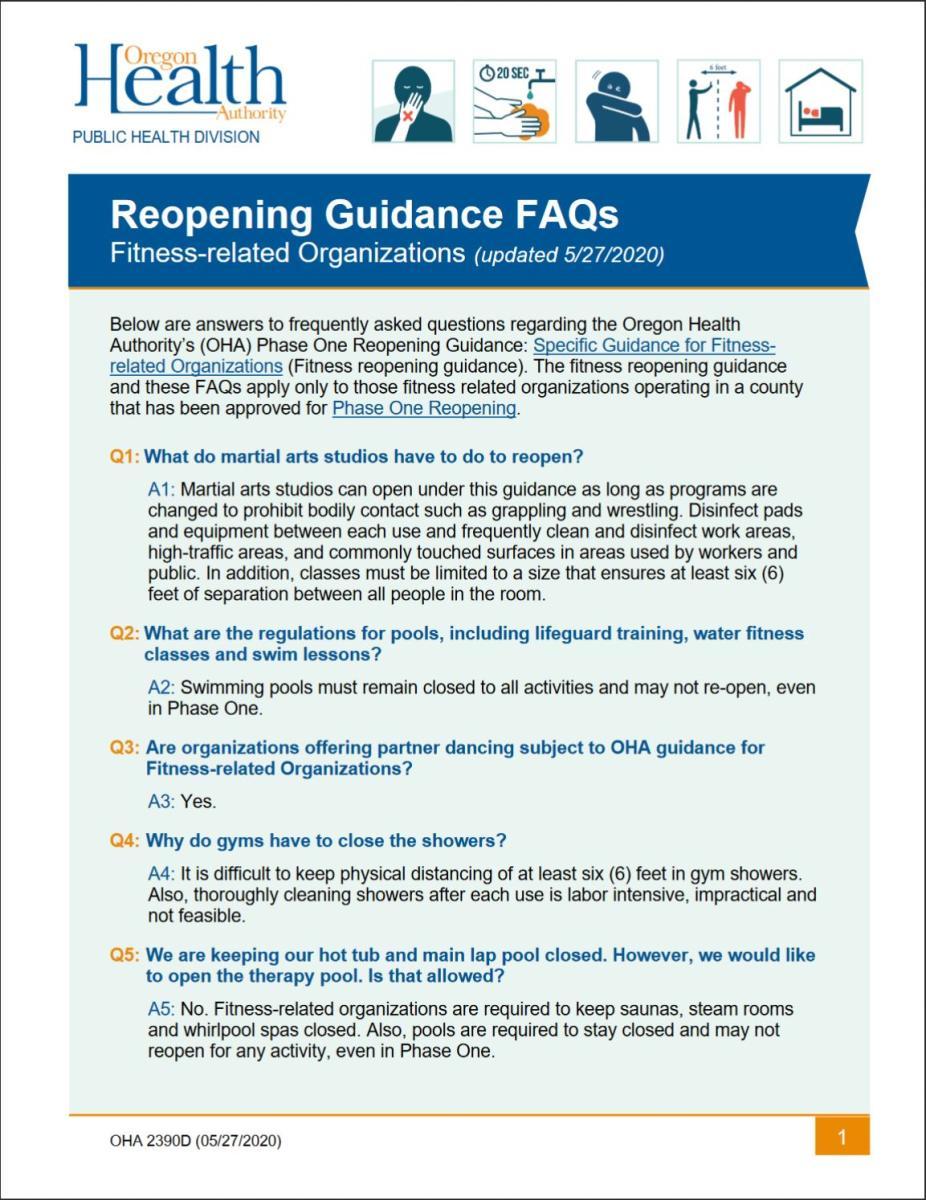 Reopening FAQ's Fitness