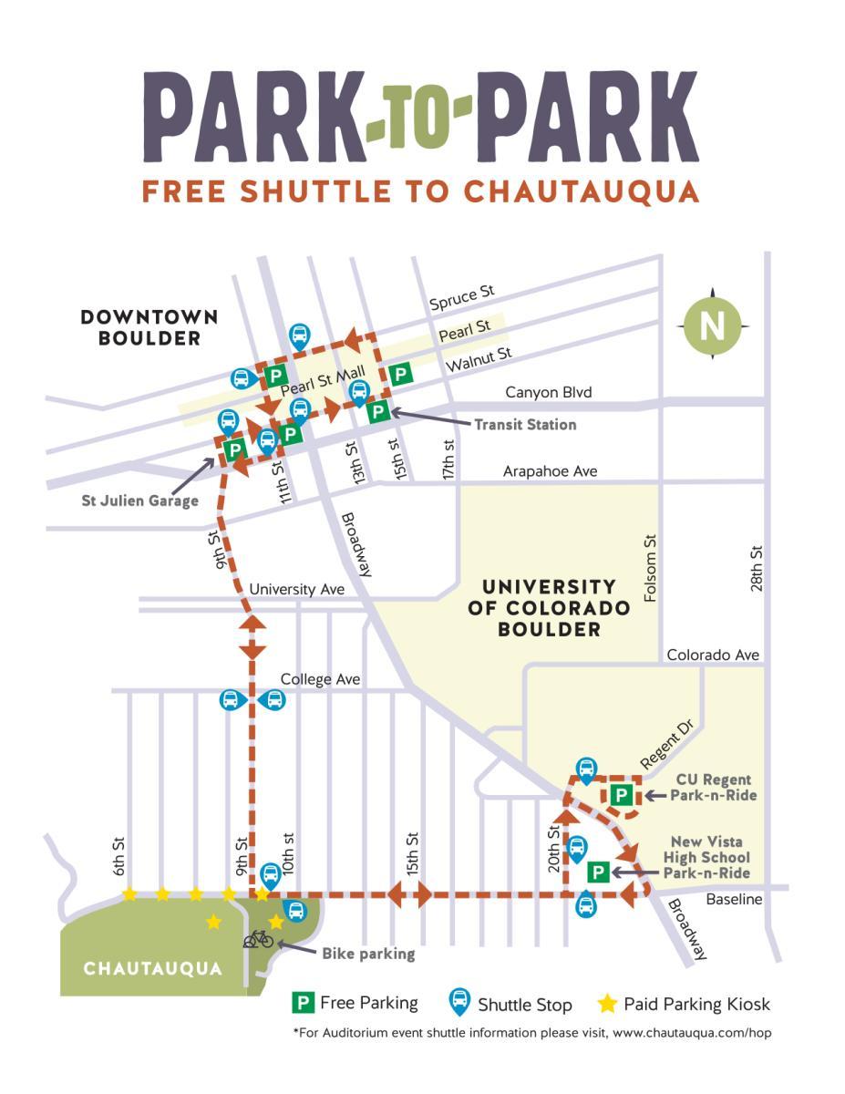 Park to Park Free Shuttle to Chautauqua Shuttle Map
