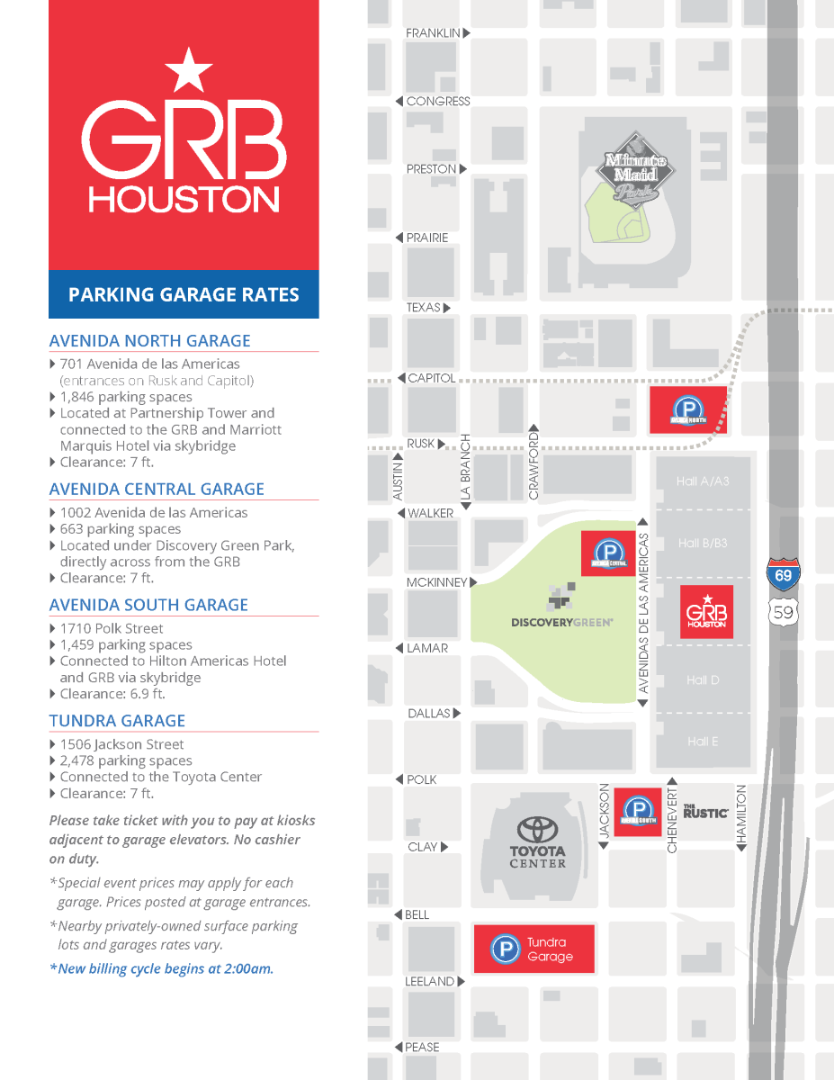 Map of Parking Garages on Avenida Houston