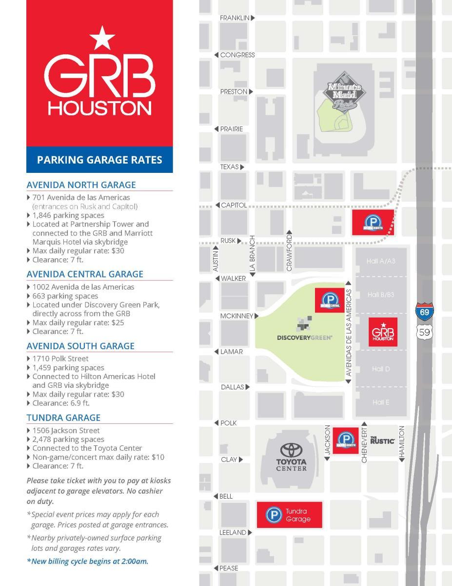 Avenida Houston Parking Rates and Map