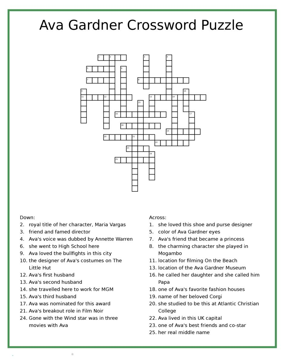 Ava Gardner Crossword Puzzle