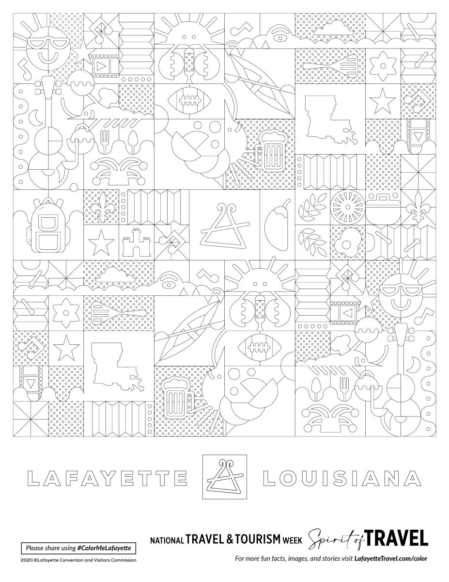 Lafayette Travel - Cajun Pattern Coloring Sheet