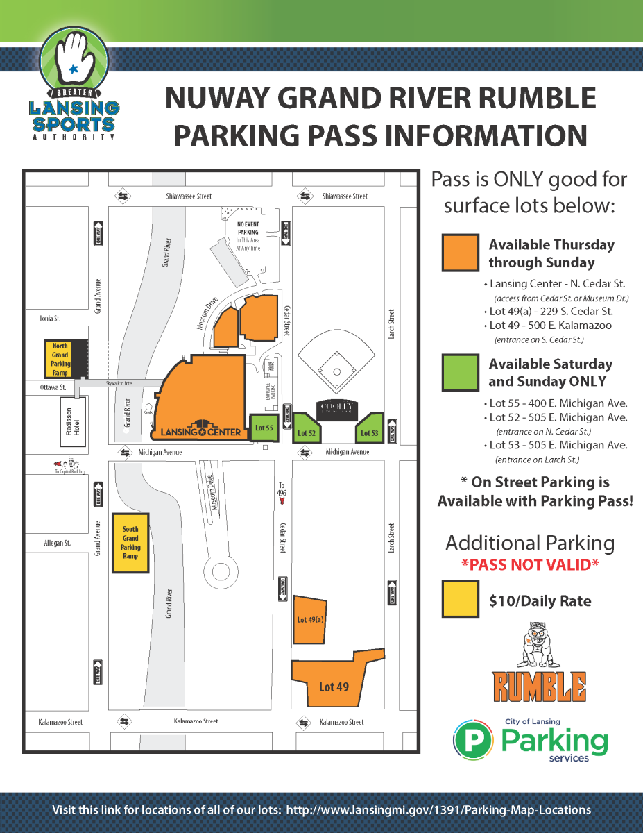 Grand River Rumble parking map 2019