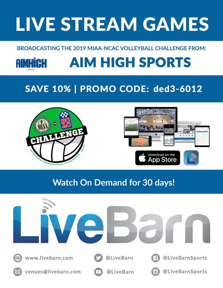 MIAA NCAC Live Stream Flyer