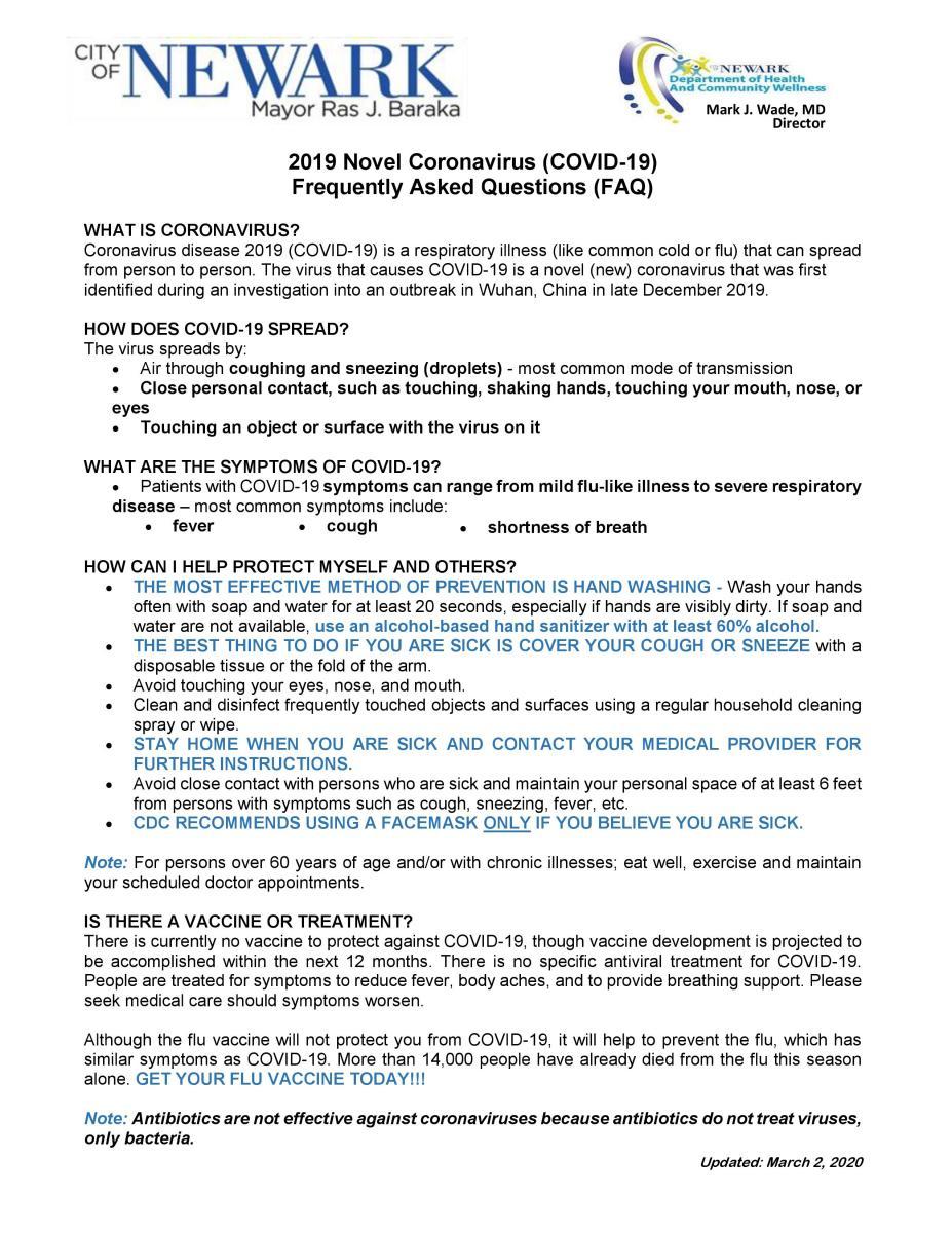 COVID FAQ 1