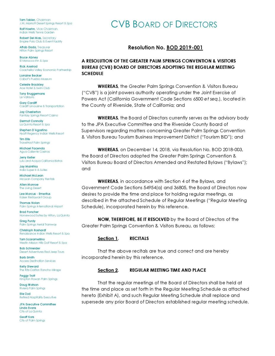 11 - CVB Resolution No. BOD 2019